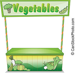 Illustration of a vegetable stall on a white background