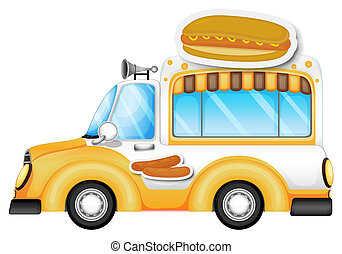 A vehicle selling buns and hotdogs - Illustration of a...