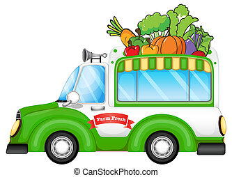 A vehicle selling fresh vegetables