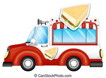 A vehicle selling sandwiches