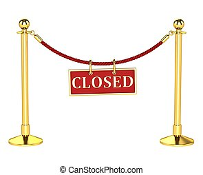 A velvet rope barrier, with a closed sign Isolated on white...