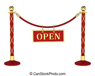 A velvet rope barrier, with a open sign Isolated on white...