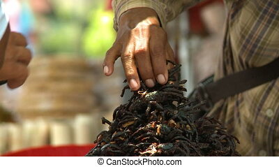 A vendor selling fried spiders snack in Cambodia - A steady ...