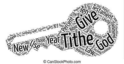 a, verdade, aproximadamente, a, tithe, texto, fundo, palavra, nuvem, conceito