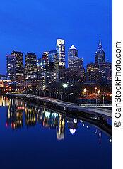 Vertical night scene of the city of Philadelphia skyline