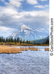 Vertical of Vermillion Lakes and Mount Rundle near Banff,...