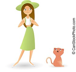 A very beautiful fashionable girl with a brown-haired hat, cat