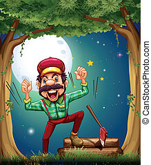 A very cheerful lumberjack at the forest