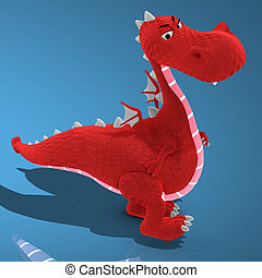 A very cute and lovely cartton dragon made out of plushImage contains a Clipping Path / Cutting Path for the main object