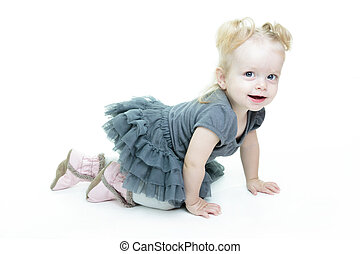A Very cute baby in studio white background