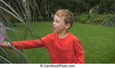 A very cute boy touches tall grass while holding a balloon -...