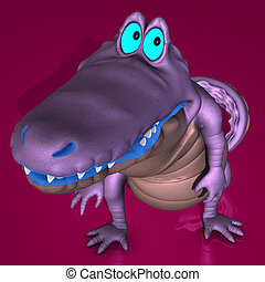 A very cute, plushy cartoon crocodileImage contains a Clipping Path / Cutting Path for the main object