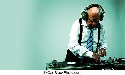 a very funky elderly grandpa dj mixing records