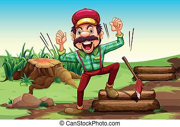 A very happy lumberjack near the stump