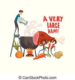 A very large ham, little men cooking huge piece of ham, design element for banner, poster, greeting card vector Illustration