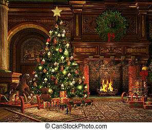 A Very Merry Christmas - 3d CG graphics of a living room on...