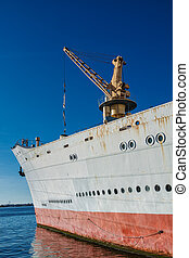 A vessel in the port in Rostock (Germany).
