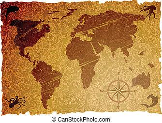 a, vetorial, grunge, antigas, mapa