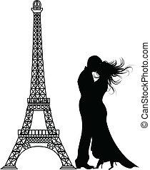 a, vetorial, romance, paris, silueta