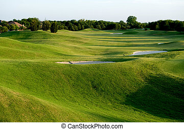A vibrant green golf course