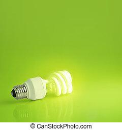 A vibrant presentation of a modern energy-saving lightbulb...