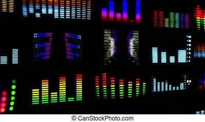 a video wall made form different videos clips of music and audio equalisers