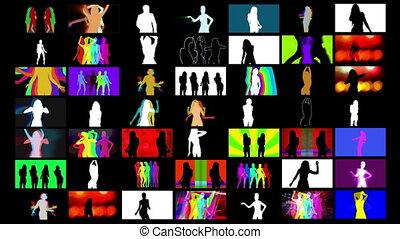 a video wall of HD screens made up from different shadow disco style dancers. All content is from my own collection