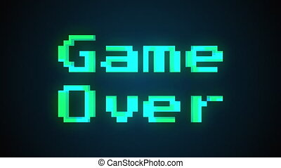 A videogame ending screen with text Game over, 3d rendering...