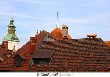A view from above on the roofs of houses with red tiles in the old town.