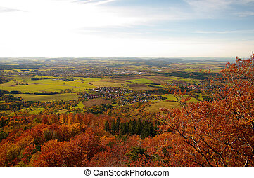 A view from Hohenzollern castle in Swabian during autumn,...