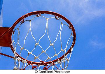 basketball hoop - A view of a basketball hoop from below