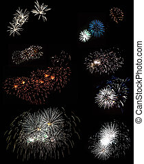 A view of a beautiful fireworks set