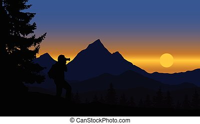 A view of a panoramic mountain landscape with forest and trees, standing man strolling rising sun on blue sky - vector