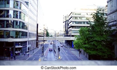 A view of a road in London from a bridge. Slow motion.