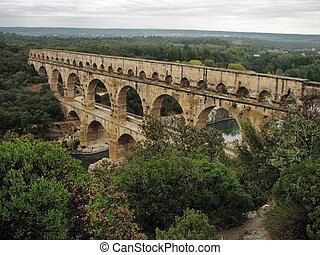 A view of an aqueduct Pont Du Gard in France