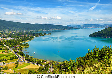 view of Annecy lake in french Alps
