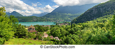 view of Annecy lake in french Alps with Duingt village