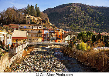 a view of Camprodon, in Catalonia, Spain - a view of the Ter...
