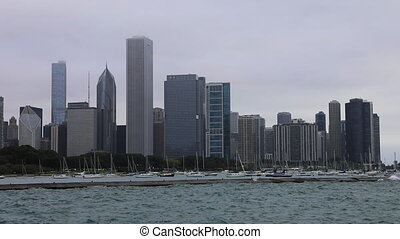 View of Chicago city center on a foggy day