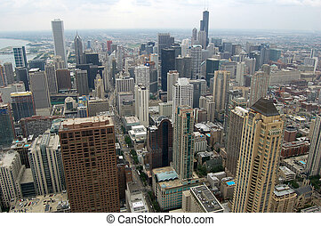 Chicago - A view of Chicago looking south from the top of a...