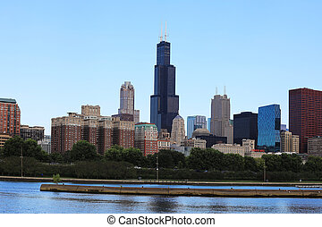 View of Chicago skyline on a sunny day