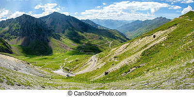 view of Col du Tourmalet in pyrenees mountains - a view of...