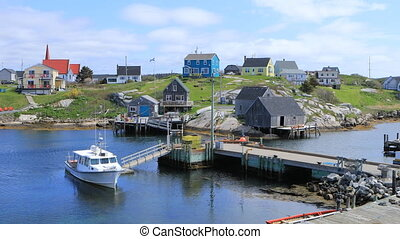 View of colorful buildings at Peggys Cove, Nova Scotia - A...