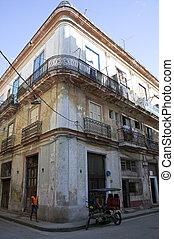 A view of crumbling buildings in Havana