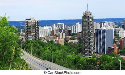 A View of Hamilton, Canada expressway with skyline behind