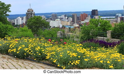 View of Hamilton, Canada, skyline with flowers in front