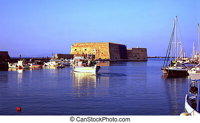 A view of Heraklion harbour, Crete, and its Venetian era defences.