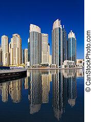 A view of Jumeirah Beach Residence, at Dubai Marina, Dubai,...