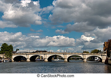 A view of Kingston Bridge spanning the River Thames