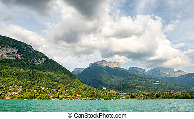 view of Lake Annecy in the French Alps